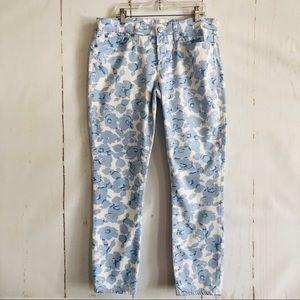 J.Crew Blue & White Floral Skinny Denim Jeans
